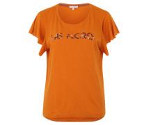T-Shirt, Print, Schmetterlingsärmel, meliert
