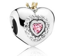 Charm Herz mit Krone und Zirkonia zweifarbig 791375PCZ