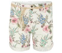 Shorts, Blumenmuster, Umschlag-Saum, Gürtel, Flecht-Struktur