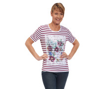 T-Shirt, Streifen, Spitze, floral, Mustermix