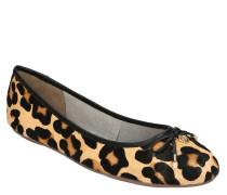Ballerinas, Leder, Leoparden-Muster, Schleife