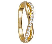 Ring 375 Gelb mit 15 Diamanten, zus. ca. 0,20 ct.