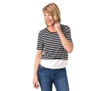 T-Shirt, Streifen, Blusen-Einsatz
