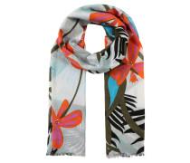 Schal, Tropisches Design, Fransen, Baumwolle
