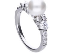 Ring, Muschelkernperle, Zirkonia, , 61-0913-1-111