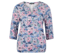 Shirt, 3/4-Arm, floraler Allover-Print, Split-Neck, Gummibund