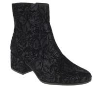 Ankle Boots, florales Muster, Blockabsatz, Reißverschluss
