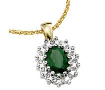Kette mit Diamant-Anhänger und Smaragd Gold 375, zus. ca. 0