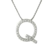 """Kette mit Anhänger """"Q"""", 375 gold mit Diamanten, zus. ca. 0"""