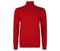 Pullover, Baumwolle, Feinstrick, Rollkragen, Ripp-Details, unifarben