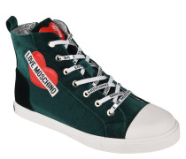Sneaker, hoher Schaft, Samt, Logo-Print, Herz-Patches
