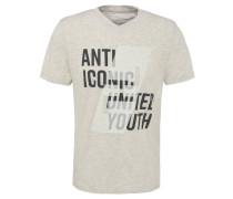 T-Shirt, V-Ausschnitt, Schrift-Print, meliert