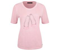 T-Shirt, Strass-Motiv, Schleifen, Oil-Washed-Optik