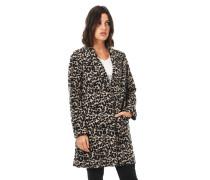 Mantel, Woll-Anteil, Leoparden-Muster, Reverskragen