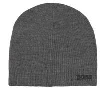 Mütze, Woll-Anteil, Feinstrick, Logo-Applikation