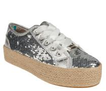 Sneaker, Pailletten, Plateausohle, Bast