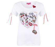 T-Shirt, Schleifen, Herzen-Print, Rundhalsausschnitt