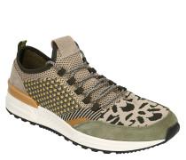 Sneaker, Jacquard-Muster, Knit-Optik, Veloursleder-Details