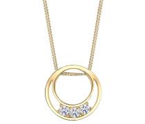 Halskette Halbmond Kreis Zirkonia 925 Sterling Silber