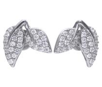 Blattförmige Ohrstecker  mit weißen Zirkonia-Steinen und Pavé-Besatz 6219581082