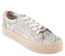 Sneaker, schimmernd, Bast-Plateausohle