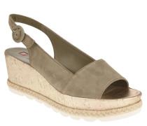 Sandaletten, Veloursleder, Metallic-Effekt, Bast-Besatz