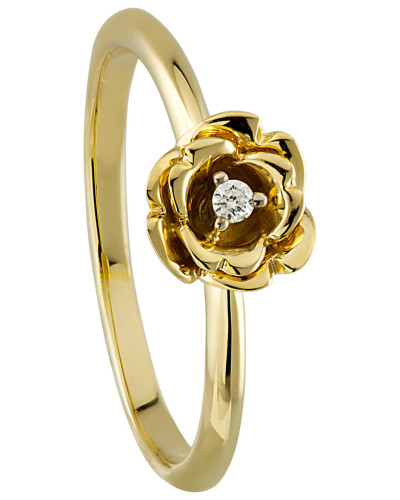 Diamant-Ring 375 Gelb, zus. ca. 0,02 ct.