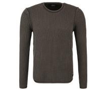 Pullover, Baumwolle, Grobstrick, Rollsaum, unifarben