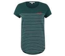 T-Shirt, Streifen-Print, Stickerei, gerundeter Saum