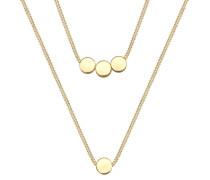 Halskette Kreis Geo Layer 2-lagig 925 Sterling Silber