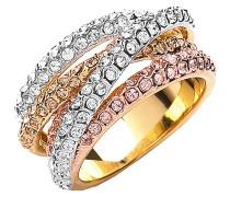Ring 3-fbg. vergoldet mit Kristallen Messing vergoldet  430070056
