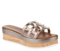 Sandaletten, Metallic-Look, Schmuckperlen