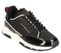 Sneaker, Kontrast-Details, Kunstfell-Futter, Lack
