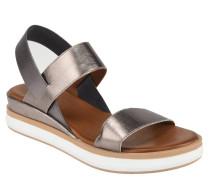 Sandalen, Leder, Metallic-Optik, elastischer Glitzer-Riemen
