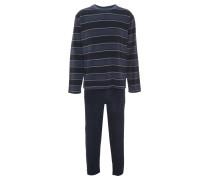 Schlafanzug, lang, gestreift, Baumwoll-Mix, Taschen