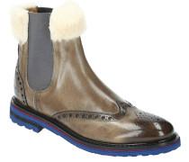 "Chelsea Boots ""Amelie"", Lyra-Lochung, kontrastfarbene Sohle, Kunstfell"
