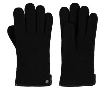 Handschuhe, Strick, Schurwolle, uni, Lederrand