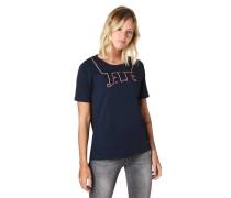 T-Shirt, -Schriftzug, Kontraststreifen-Applikation