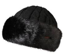 Mütze, Strick, Zopfmuster, Webpelz, Woll-Anteil