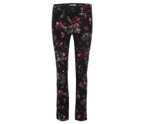 Stoffhose, Jeans-Optik, floraler Print