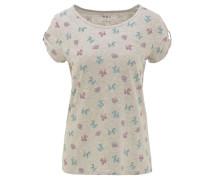 T-Shirt, Cut-Outs, Ärmelriegel, Allover-Print