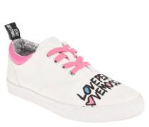 Sneaker, Schrift-Print, Textil, Kontrast-Schnürsenkel