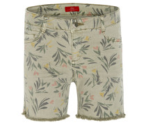 Shorts, Straight Fit, Fransen, florales Muster