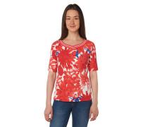 T-Shirt, gestreifte Rippblende, Floral-Print, V-Ausschnitt