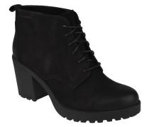 Ankle Boots, Velourleder, Schnürung, unifarben