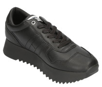 Sneaker, Leder, Plateau, Streifen-Detail, strukturierte Sohle