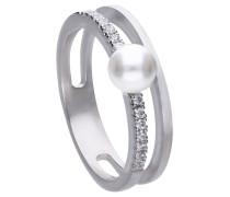 Zweireihiger Perl-Ring  mit weißer Muschelkernperle und weißen Zirkonia-Steinen 6119951111180