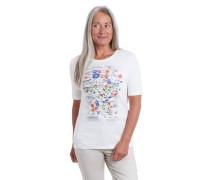T-Shirt, Bio-Baumwolle, florales Print, Nieten-Details