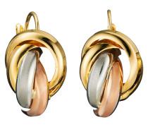 Knoten-Creolen Tricolor Gold 585
