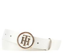 Gürtel, runde Logo-Schließe, genarbtes Leder